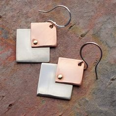 Square on Square Mixed Metal Riveted Dangle Earrings