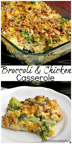 Chicken and Broccoli Casserole - Penney Lane Chicken and Broccoli Casserole: Delicious comfort food casserole with rice, broccoli, chicken, two kinds of cheeses, and breadcrumbs. By Penney Lane Kitchen New Recipes, Cooking Recipes, Healthy Recipes, Healthy Food, Recipies, Healthy Comfort Food, Casserole Dishes, Casserole Recipes, Casseroles With Rice