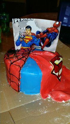 Spiderman vs Superman cake