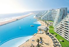 World's largest outdoor pool - The Crystal Lagoon, located at the San Alfonso del Mar resort in Algarrobo, Chile, is the world's largest outdoor pool, stretching more than half of a mile and filled with 66 million gallons of water.