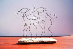 School of fish, driftwood and wire sculpture. Fishing sculpture, hand crafted river sculpture. Wire work and driftwood art object. by ArtandImperfections on Etsy