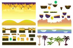 Tropical Forest Landscape Elements Realistic Vector collection For Video Game On White Background Royalty Free Stock Photo