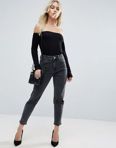 ASOS PETITE - 'Farleigh' Slim Mom #Jeans, Washed Black With Busted Knees | ASOS.com