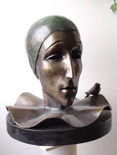 Bronze Small / Little Abstract Contemporary Sculptures / statue by artist Liubka Kirilova titled: '`Pierro` (bronze life size Stylised Harlequin Bust Head statue)'