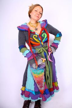 Oh, I'd love a coat like this for my 3-year-old!  Recyled Sweater Coat  Rainbow Twirl by katwise