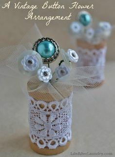 A Vintage Button Flower Arrangement #howto #tutorial