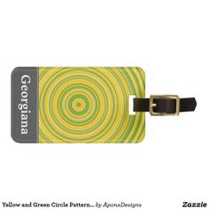 Yellow and Green Curve Pattern + Custom Initial Circle Pattern, Luggage Bags, Travel Style, Initials, Tags, Yellow, Green, Accessories, Mailing Labels