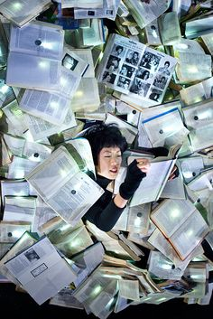 "Take a literary dip in a ""massive river of 10,000 discarded books"" that flooded Melbourne, Australia, in June. My Modern Met noted that ""Spanish art collective Luzinterruptus was commissioned to create a work of art that, quite literally, stopped traffic.... On the final night of the installation, visitors were encouraged to take the books home with them."""