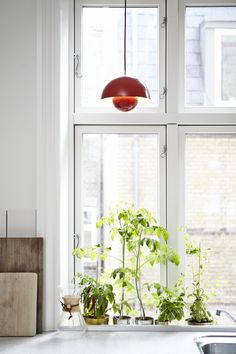 """Designed in 1969 by Verner Panton, this Diiiz replica of the """"Flower Pot"""" is impressive when it's switched on and off. This stainless steel lamp is inspired by the heart of a flower. Verner Panton Lamp, Garden Renovation Ideas, Interior Styling, Interior Design, House Inside, White Rooms, Danish Design, Pantone, Flower Pots"""