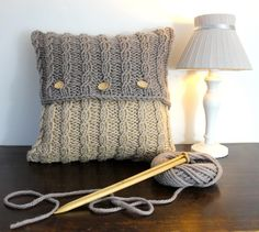 Handknit your own cushion cover in sumptuous natural merino wool. Button-up design so you can easily remove the cover for washing. Reverse of cushion cover is all cream. No fiddly cable needles required.Written in standard UK knitting terms. Knitted Cushion Covers, Cushion Cover Pattern, Knitted Cushions, Cushions To Make, Knitted Cushion Pattern, Knitting Terms, Knitting Patterns, Crochet Patterns, Knitting Projects