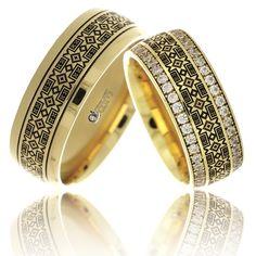 Verighete ATCOM Lux Daciana, cu Motive Traditionale Romanesti aur galben