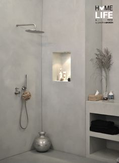 Concrete wall-in shower | Woonbeurs Amsterdam 2011 © Paulina Arcklin #interior #home #bathroom #grey