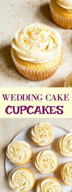 Wedding cupcakes: almond wedding cake cupcakes with buttercream roses. Small batch cupcake recipe. Anniversary dessert!