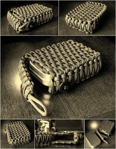 I was looking at images of other peoples survival tins and came across this super cool use of paracord. This makes for a great decorative case for your survival tin or even a deck of cards (as shown)...