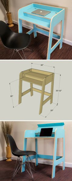 How to build a DIY Compact Desk (perfect for kids!) | Free printable project plans at buildsomething.com | This desk provides a great workspace in a small package. Thanks to the folding lid, you can leave your laptop and work supplies in place on the desk, but cover them up when they're not in use.