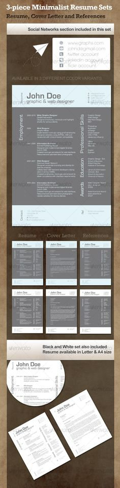 Buy Minimalist Resume by ilopqda on GraphicRiver. Minimalist Resume available in two different variants. Files included: 1 page resume, 1 page references, 1 pa. Job Resume, Resume Tips, Resume Examples, Resume Ideas, Cv Design, Resume Design, Graphic Design, Marca Personal, Personal Branding