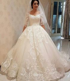 Glamorous Off-the-shoulder Half Sleeve Puffy Lace Wedding Dress - Hochzeitskleid Princess Wedding Dresses, Best Wedding Dresses, Cheap Wedding Dress, Bridal Dresses, Gown Wedding, Lace Wedding, Modest Wedding, 40s Wedding, Princess Bridal