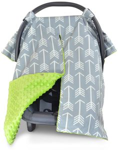 Arrow Car Seat Canopy with Lime Green Dot Minky and Peekaboo Opening™