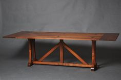 "ARCHITECT BASE FLIP TOP This Walnut Architect's flip-top console / dining table with plug-on end leaves; 18"" x 72"" closed, 96"" x 36"" fully open"