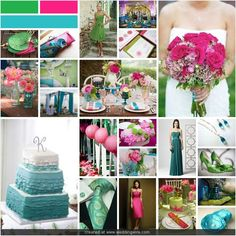 teal, green, and pink wedding