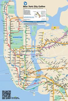 A map that shows the best coffee shop by every subway stop in Manhattan, Brooklyn, and Queens