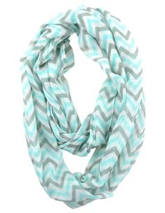 Soft Chevron Sheer Infinity Scarf in Contrasting Colors (Teal/Gray/White):Amazon:Clothing