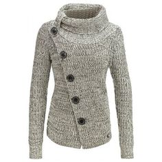 Chic Turtleneck Long Sleeve Button Design Knitted Women's Jacket (GRAY,XL) in Jackets & Coats | DressLily.com