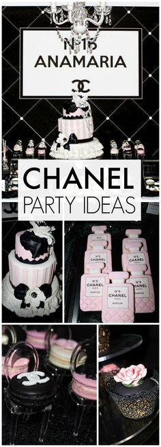 What a stunning pink and black Chanel themed Sweet 16 party! See more party ideas at CatchMyParty.com!