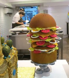 Giant hamburger cake found at Escriba pastry shop in Barcelona.