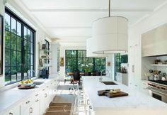 White Kitchen with Black Window Trim