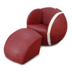 Kids Arm Chair Football Sports Style + Stowaway Ottoman BRAND NEW Brown & White