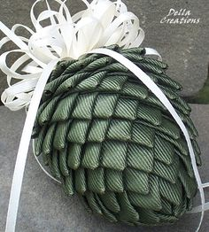 Pierced Ribbon Pinecone Ornament Olive Green by DellaCreations, $9.95