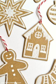 DIY Cardboard Gingerbread Ornaments … make your own Christmas ornaments with this fun, easy, and CHEAP tutorial! Use them to decorate your tree, dress up [. Cheap Christmas Ornaments, Gingerbread Ornaments, Paper Ornaments, Christmas Crafts For Kids, Diy Christmas Ornaments, Homemade Christmas, Holiday Crafts, Christmas Decorations, Cardboard Christmas Tree
