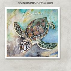 Just Swim, sea turtle watercolor painting, watercolor and colored pencil print