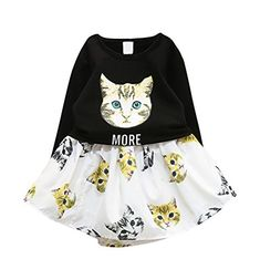 FANCYKIDS Girls Toddler Kids Childrens Cat Play Dress Long Sleeves Skirt Outfit Set French Street Fashion, 6 Year Old, Play Dress, Skirt Outfits, Street Styles, Toddler Girl, Dresser, Long Sleeve, Casual