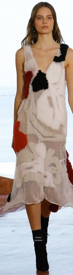 Dior Pre Spring 2016 collection This looks like an unfinished rug hooking kit and, I'll bet that's where the idea originated.
