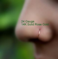 Extra Small 14K Solid Rose Gold Nose by Holylandstreasures on Etsy
