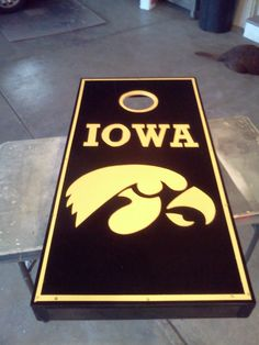almost as cool as the one i made lol    Iowa Hawkeyes Cornhole Boards by MattRowland15 on Etsy, $180.00