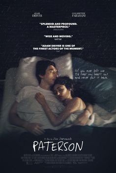 Paterson Blu-ray Paterson (Adam Driver) is a bus driver in the city of Paterson, New Jersey - they share the name. Every day, Paterson adheres to a simple routine: he drives his daily route, observing the city as it drifts across his Streaming Movies, Hd Movies, Film Movie, Movies To Watch, Movies Online, Movies And Tv Shows, Hd Streaming, 2017 Movies, Movies Free