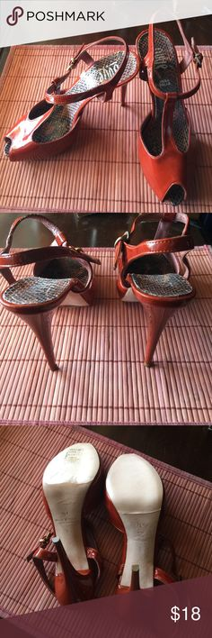 Burnt orange Verra Pelle Sexy Heels 👠❤❤NWOT Gorgeous never been worn  heels still had protected plastic on souls heels tipped in Gold  sexy  inside soul looks like snakeskin  made in Italy  OVYE' Shoes Heels
