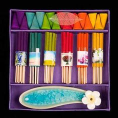 Rainbow coloured Assorted Incense Gift Set with handcrafted ceramic burner presented in a lush purple mulberry paper box. Incense Cones, Incense Sticks, Incense Packaging, Chakras, Incense Holder, Unusual Gifts, Wiccan, Rainbow Colors, Packaging Design