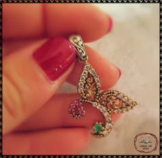 Turkish Sterling Silver Authentic Ottoman Style Butterfly Pendant Imitation Ruby Emerald Zircon