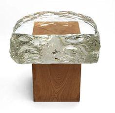 by tokujin yoshioka , glass and wood stool Cool Furniture, Modern Furniture, Furniture Design, Wood Design, Design Art, Tokyo Design, Wood Stool, Cabinet Makers, Art Object