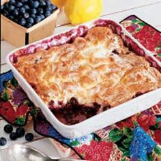 "Blueberry Pudding Cake - This is my go-to recipe when I want a quick and easy dessert!  I've made it for years using a variety of fruits, either fresh or frozen.  I adjust the sugar and cornstarch based on the fruits, but this is a great all around recipe.  My boys called it ""cobbler pie"" and are all smiles when they see I've made this for dessert!  Enjoy!"