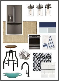 A beautiful mood board for a modern industrial kitchen. Slate appliances, blue accents, white subway tile, and industrial furnishings. Industrial Tile, Industrial Chic Decor, Industrial Style Kitchen, Industrial House, Modern Kitchen Design, Modern Industrial, Industrial Restaurant, Industrial Farmhouse, Industrial Windows