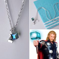 Thor Hammer and Tesseract Necklace Marvel Inspired Jewelry Geek Jewelry, Cute Jewelry, Jewelry Gifts, Handmade Jewelry, Coral Bracelet, Coral Jewelry, Beaded Bracelets, Necklaces, Marvel Heroes