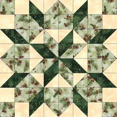 Quilt kit features the Bethlehem Star quilt block pattern with brown pine cones red berries and pine on green, falling snow on dark green and falling snow on cr