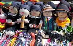 South America, Ecuador, Otavalo. Handmade dolls with the traditional fabrics and dress of the Ecuadorian Andes, to buy at Otavalo.