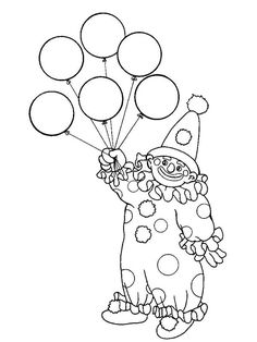 clown with balloons coloring page_86472jpg 600800