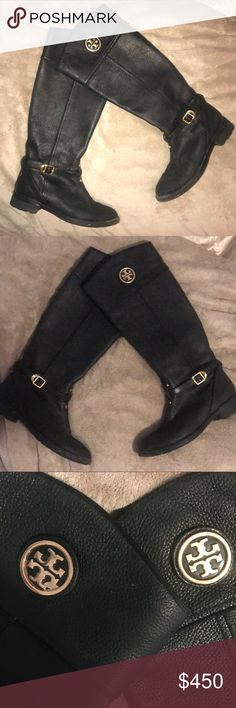 Tory Burch Leather Teresa Riding Boot Tory Burch Teresa Riding Boot. Worn for one fall season. In one of the photos you can see one of the emblems is missing a small piece. Willing to negotiate on price. Just make me an offer to do so. Tory Burch Shoes Heeled Boots